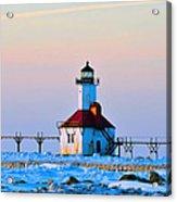 Lighthouse On Ice Acrylic Print