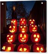 Lit Pumpkins With Demon On Halloween Acrylic Print