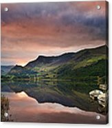 Llyn Nantlle At Sunrise Looking Towards Mist Shrouded Mount Snow Acrylic Print by Matthew Gibson