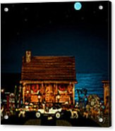 Log Cabin And Out House  Scene With Old Vintage Classic 1908 Model T Ford In Color Acrylic Print by Leslie Crotty