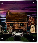 Log Cabin Scene At Sunset With The Old Vintage Classic 1913 Buick Model 25 Acrylic Print