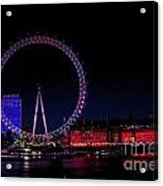 London Eye In Red White And Blue Acrylic Print