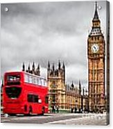 London The Uk Red Bus In Motion And Big Ben Acrylic Print