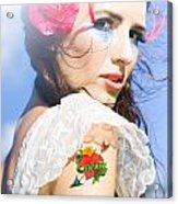 Love Heart And Arrow Tattoo Acrylic Print