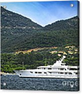Luxury Yacht At The Coast Of French Riviera Acrylic Print