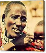 Maasai Baby Carried By His Mother In Tanzania Acrylic Print