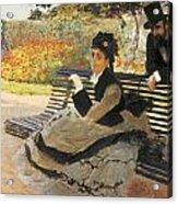Madame Monet On A Garden Bench Acrylic Print