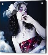 Makeup Beauty With Gothic Hair And Bloody Mouth Acrylic Print