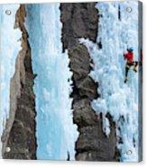Man Ice Climbing In Ceresole Reale Ice Acrylic Print