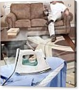 Man Ironing Shirt Acrylic Print