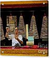 Man Lighting Incense In Chinese Temple Vietnam Acrylic Print