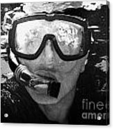 Man Snorkeling With Mask And Snorkel In Clear Water Dry Tortugas Florida Keys Usa Acrylic Print