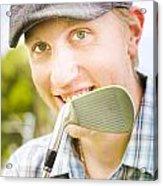 Man With Golf Club Acrylic Print