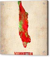 Manhattan Watercolor Map Acrylic Print by Naxart Studio