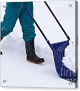 Manual Snow Removal With Snow Scoop After Blizzard Acrylic Print