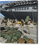 Marines Move Gear During An Embarkation Acrylic Print by Stocktrek Images