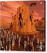 Martians Gathering Around A Monument Acrylic Print