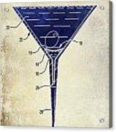 Martini Glass Patent Drawing Two Tone  Acrylic Print