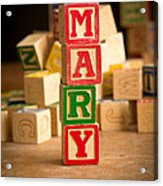 Mary - Alphabet Blocks Acrylic Print