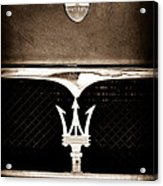 Maserati Hood - Grille Emblems Acrylic Print