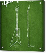 Mccarty Gibson Stringed Instrument Patent Drawing From 1958 - Green Acrylic Print by Aged Pixel