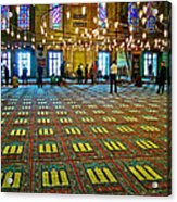 Men Inside The Blue Mosque In Istanbul-turkey Acrylic Print