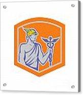 Mercury Holding Caduceus Staff Shield Retro Acrylic Print