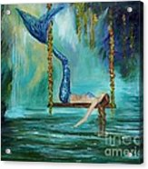 Mermaids Lazy Lagoon Acrylic Print