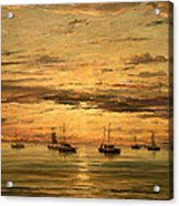 Mesdag's Sunset At Scheveningen -- A Fleet Of Shipping Vessels At Anchor Acrylic Print