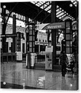metrotren platforms in Santiago central railway station Chile Acrylic Print