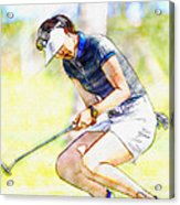 Michelle Wie Reacts After Missing A Putt On The 15th Hole Acrylic Print