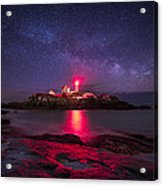 Milky Way Over Nubble Lighthouse Acrylic Print by Adam Woodworth