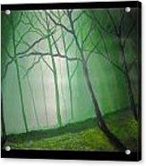 Misty Green Acrylic Print by Haleema Nuredeen