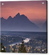 Misty Teton Sunset Acrylic Print