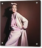 Model Wearing White Coat Over Pink Blouse Acrylic Print