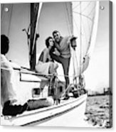 Models On A Sailboat Acrylic Print