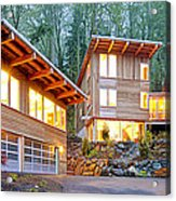 Modern Home In Woods Acrylic Print