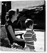 Mom And Son In The Park Acrylic Print