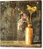 Monet Style Digital Painting Retro Style Still Life Of Dried Flowers In Vase Against Worn Woo Acrylic Print