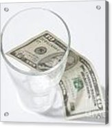 Money And A Glass Acrylic Print