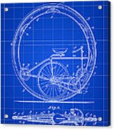 Monocycle Patent 1894 - Blue Acrylic Print