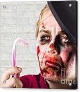 Monster Holding Sad Toothbrush. Rotting Teeth Acrylic Print