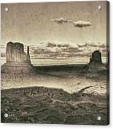 Monument Valley Aged Black And White Acrylic Print