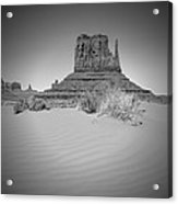 Monument Valley - West Mitten Butte Bw Acrylic Print