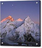 Moon Over Mount Everest Summit Acrylic Print