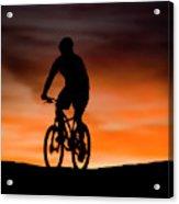 Mountain Biker At Sunset, Moab, Utah Acrylic Print