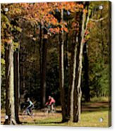 Mountain Bikers Ride In New Gloucester Acrylic Print