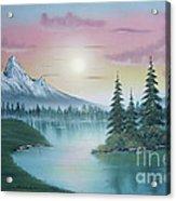 Mountain Lake Painting A La Bob Ross 1 Acrylic Print by Bruno Santoro