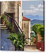 Mountain Village Impasto Acrylic Print