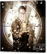 Movie Man Holding Cinema Popcorn Bucket At Film Acrylic Print